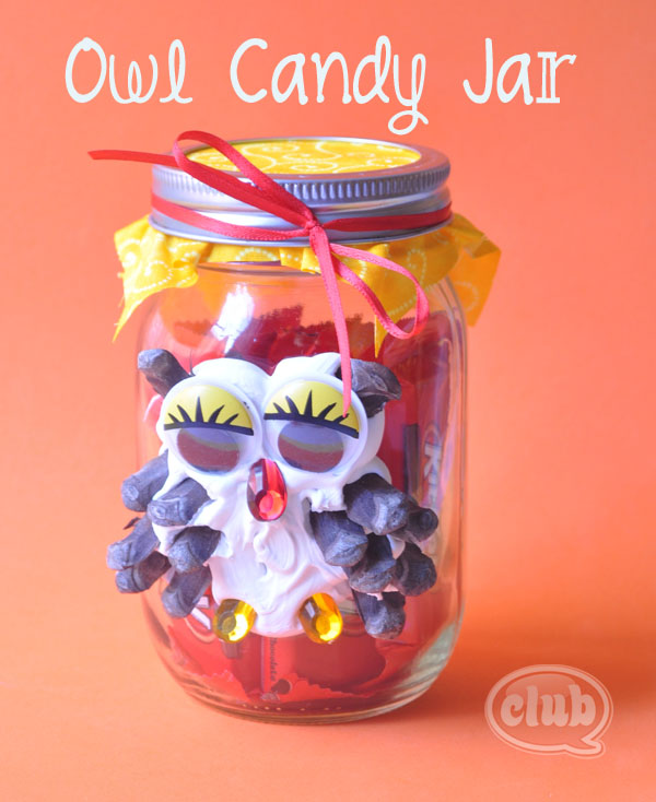 Owl-candy-jar-craft-with-caulk
